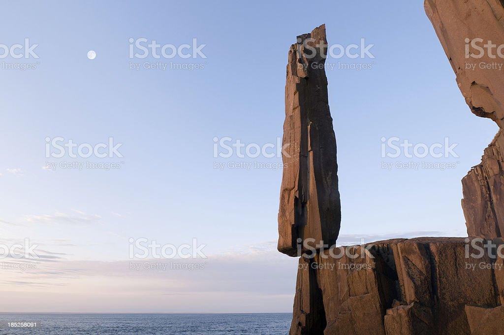 Balancing rock moon stock photo