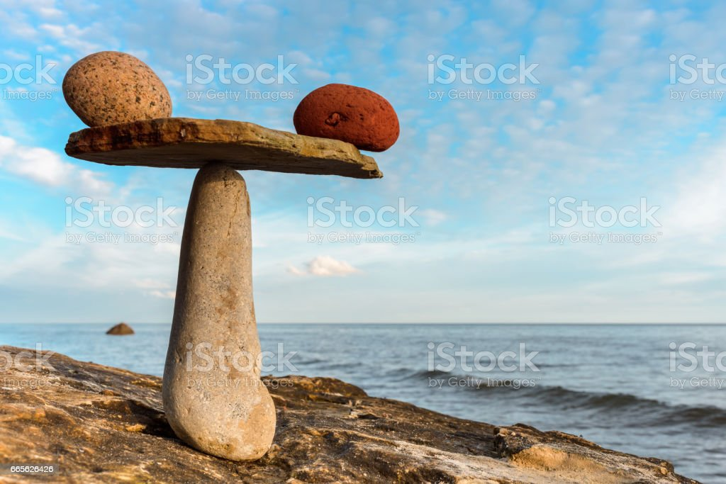 Balancing several of stones stock photo