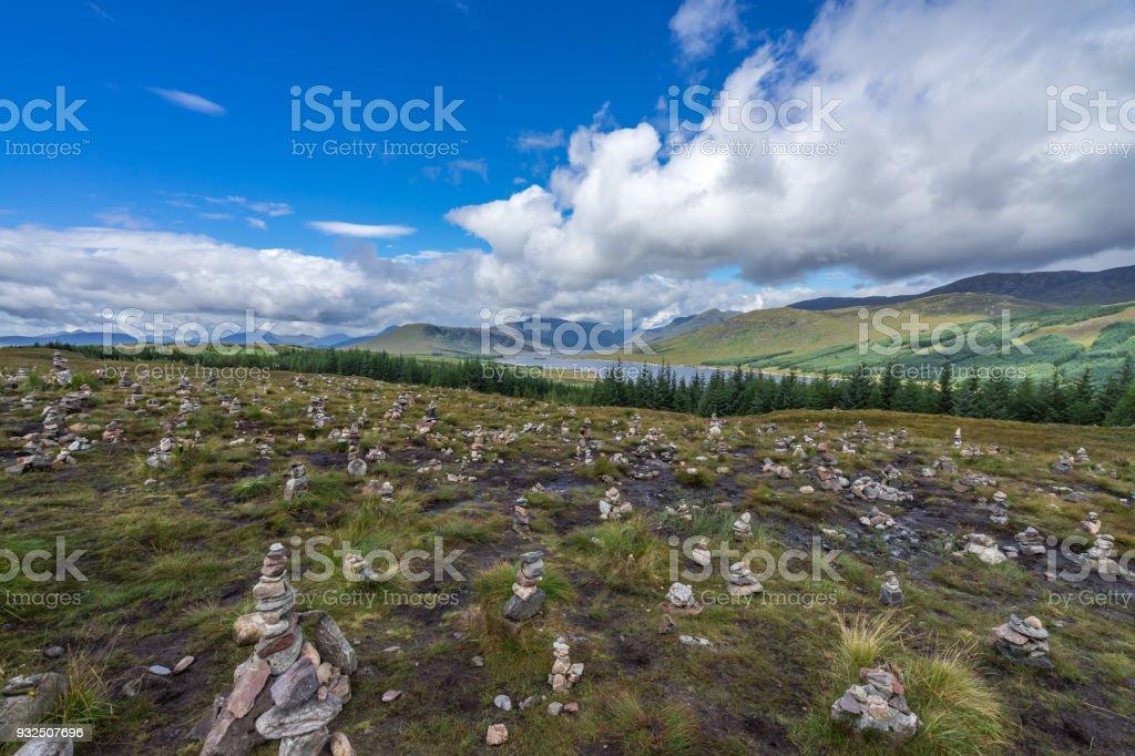 Balancing stones in a typical Highlands landscape near Loch Clunie, Scotland, Britain stock photo