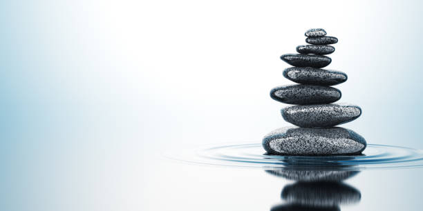 Balancing Stones On The Water Concept. 3D render. balance stock pictures, royalty-free photos & images