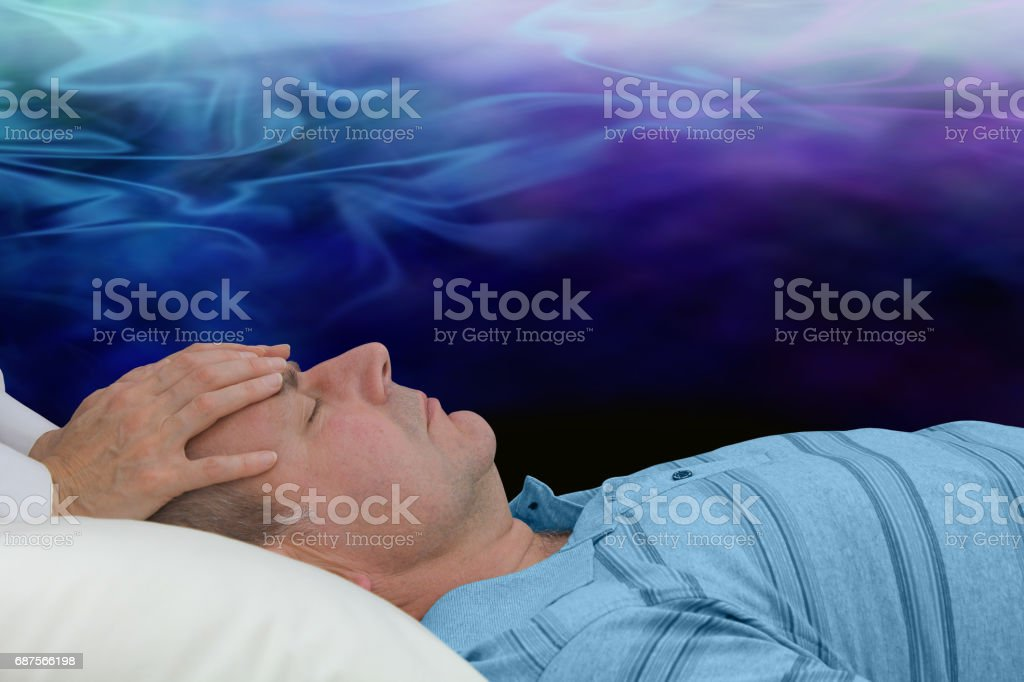 Balancing the third eye chakra stock photo
