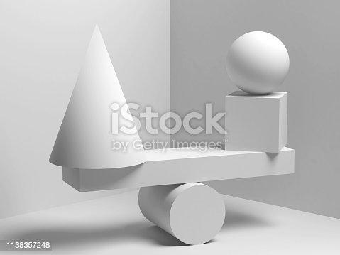 950775710 istock photo Balancing white geometric shapes. 3d 1138357248