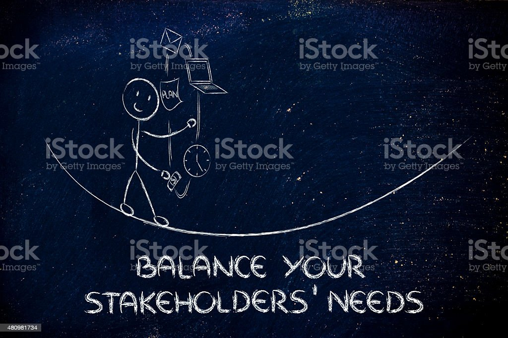balancing your stakeholders' needs: juggling with pc, document, stock photo