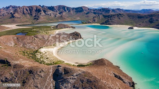 Day time aerial view of Playa Balandra, an iconic beach in La Paz, Baja California Sur, Mexico.