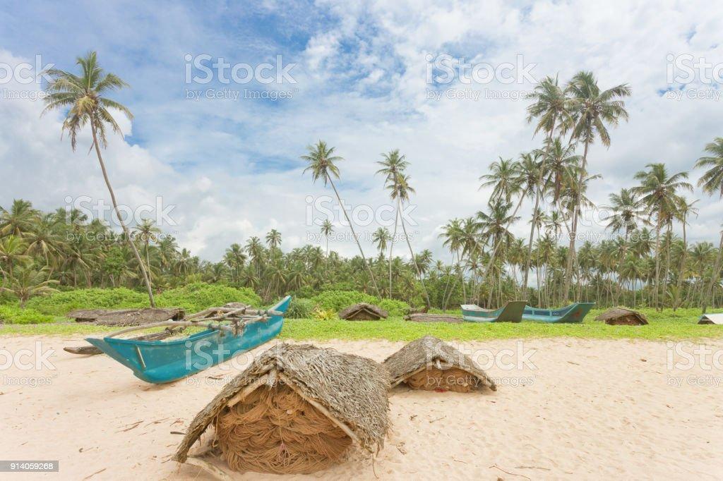 Balapitiya, Sri Lanka - Fischnetz Gehäuse am Strand Balapitiya – Foto