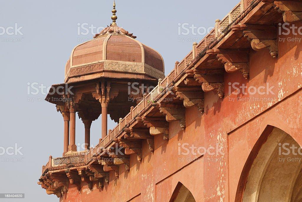Balastrade and  Chatri Akbars Tomb Agra India stock photo