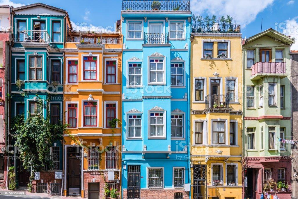 Balat renkli evleri stok fotoğrafı