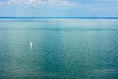 Balaton lake Hungary with one small sailboat