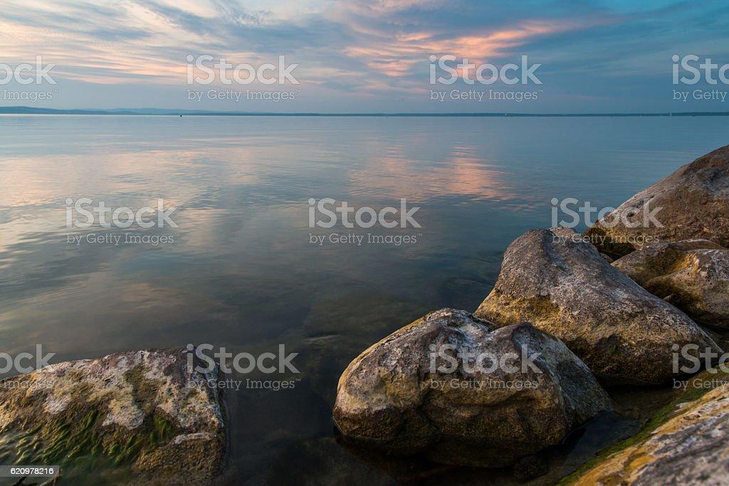 Balaton lake in the night foto royalty-free