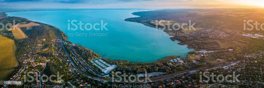 Balatonfuzfo, Hungary - Panoramic aerial skyline view of the north-east corner of Lake Balaton at sunset – zdjęcie
