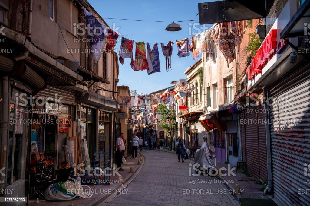 Balat'ın renkli sokakları stok fotoğrafı