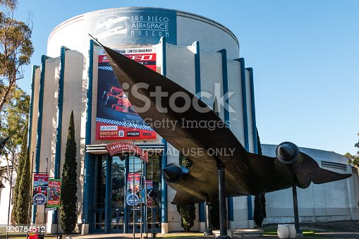 San Diego, California - February 17, 2018:  The San Diego Air and Space Museum, located in Balboa Park, houses a collection of historic aircraft and spacecraft from all over the world.