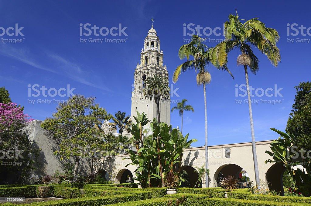 Balboa Park and California Bell Tower Scene stock photo
