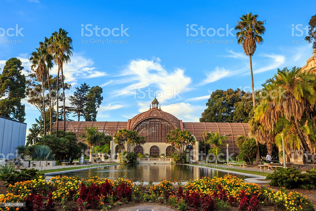 Balboa park Botanical building and pond San Diego, California stock photo