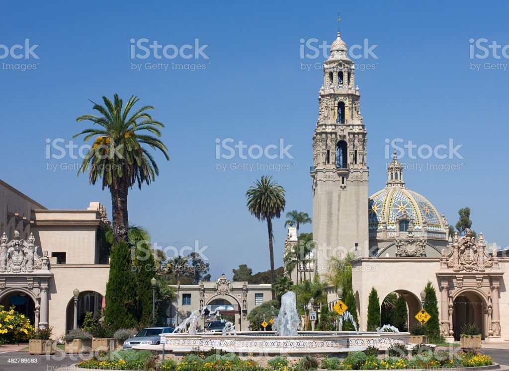Balboa Park, California Tower, central fountain stock photo