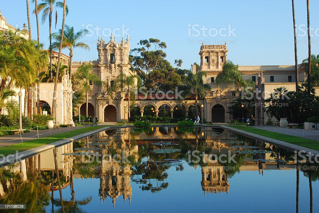 Balboa Park in reflection, San Diego stock photo