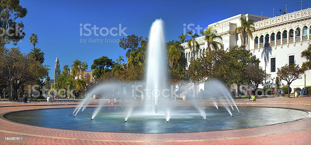 Balboa Park's Water Fountain Located in Sunny San Diego, California stock photo