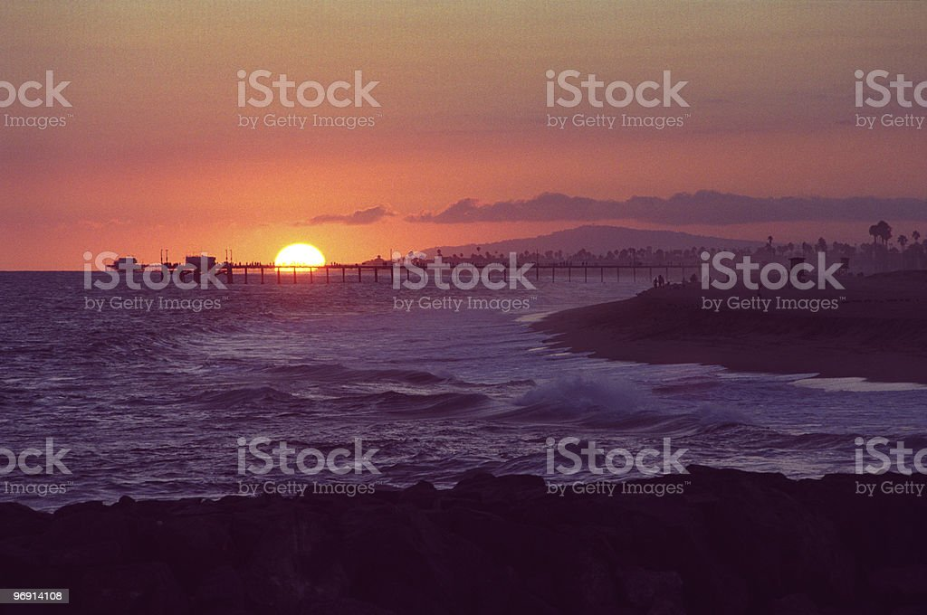 Balboa Pier at Sunset royalty-free stock photo