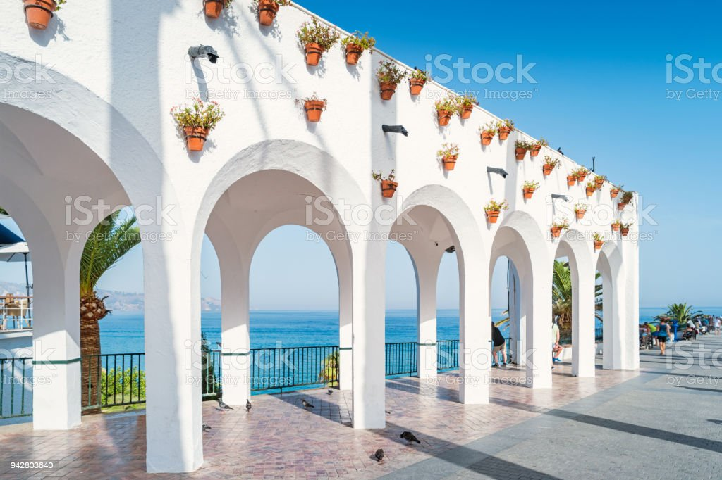 Balcon de Europa promenade in Nerja Costa del Sol Andalusia Spain stock photo