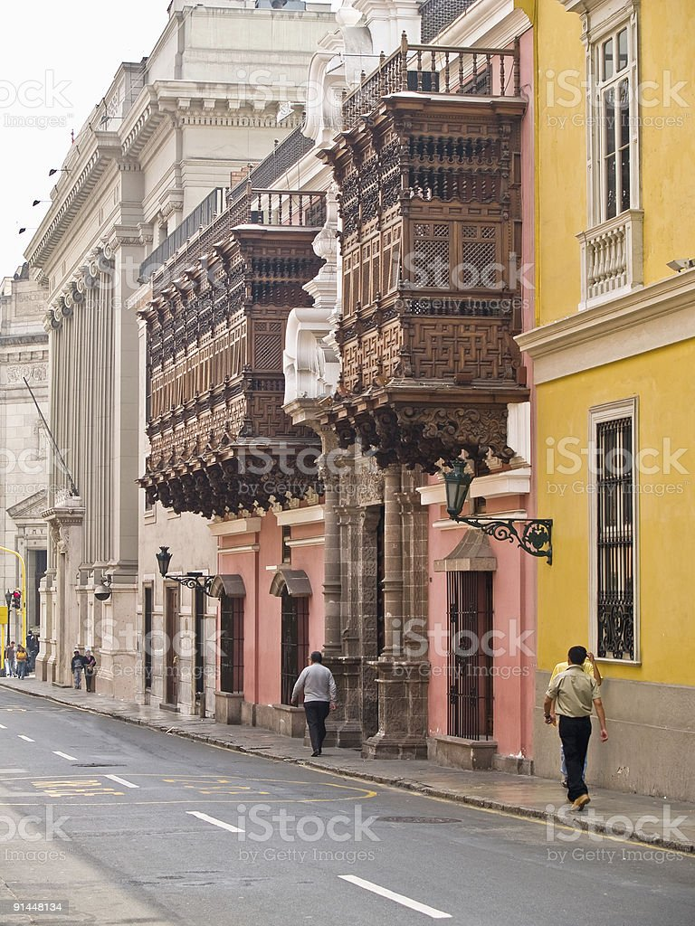 balconies at the Historic Centre of Lima royalty-free stock photo