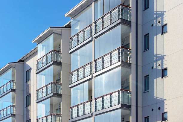 Balconies in apartment residential building stock photo