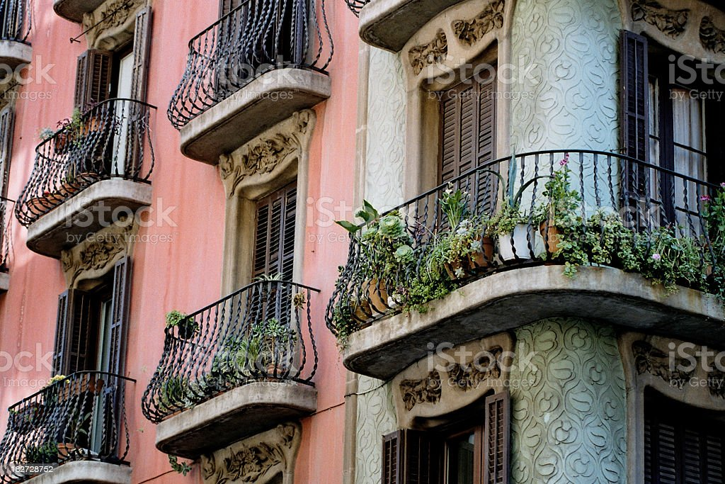 Balconies in Barcelona Balconies in Barcelona. A shot taken in the Gracia area. Can be used as a background. Architectural Feature Stock Photo