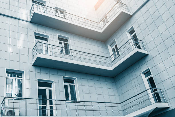 Balconies in the corner of the building. stock photo