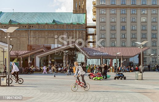Kyiv, Ukraine, September 29, 2019. Cyclists and citizens on Postal Square