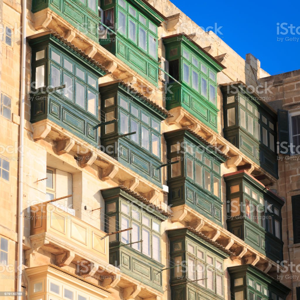 Balconies of apartments in Valletta, Malta stock photo