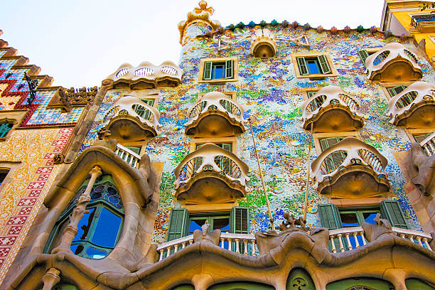 Balconies of Casa Batllo building in Barcelona in Spain Barcelona, Spain - August 14, 2011: Balconies of Casa Batllo building in Barcelona in Spain. It is also called as House of Bones. It was designed by Antoni Gaudi, Spanish architect. casa batllo stock pictures, royalty-free photos & images