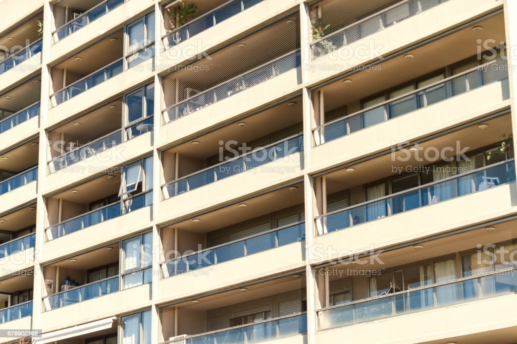 Balconies of modern apartment building royalty-free stock photo