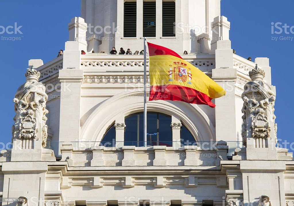 Balconies of Palacio de Comunicaciones at Plaza Cibeles, Madrid stock photo