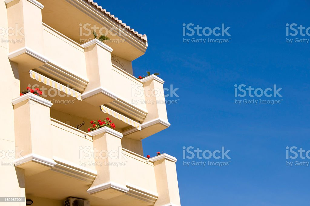 Balconies of Spanish Apartments stock photo
