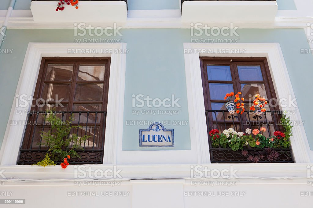 Balcony and flowerpots, Granada stock photo