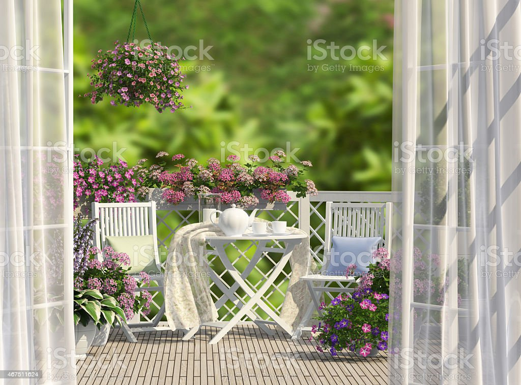 Balcony and flowers stock photo