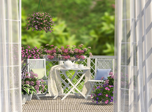 Balcony and flowers stock photo