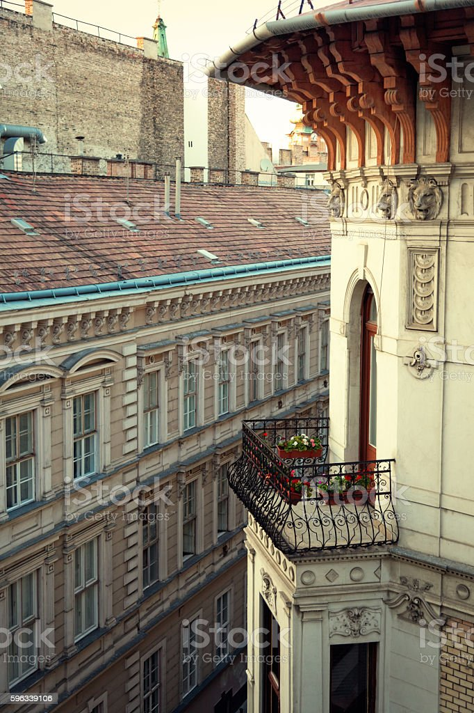 Balcony and rooftops in Budapest, Hungary Lizenzfreies stock-foto