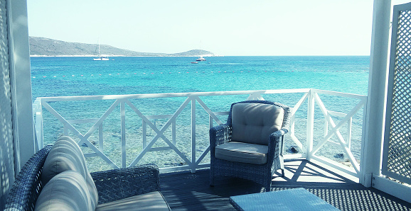 A balcony in the Aegean Sea.