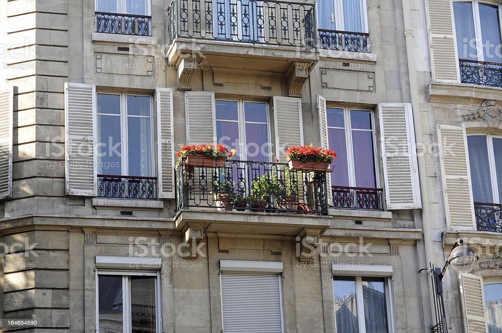 Balcony and windows in Paris royalty-free stock photo