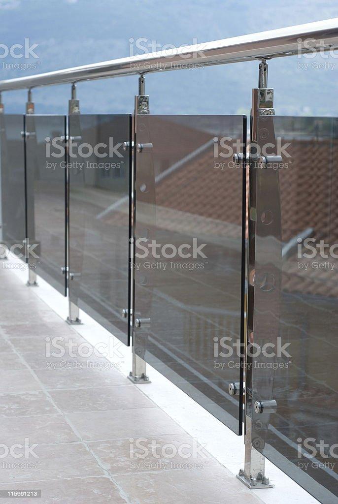 Balcony chrome handrail stock photo