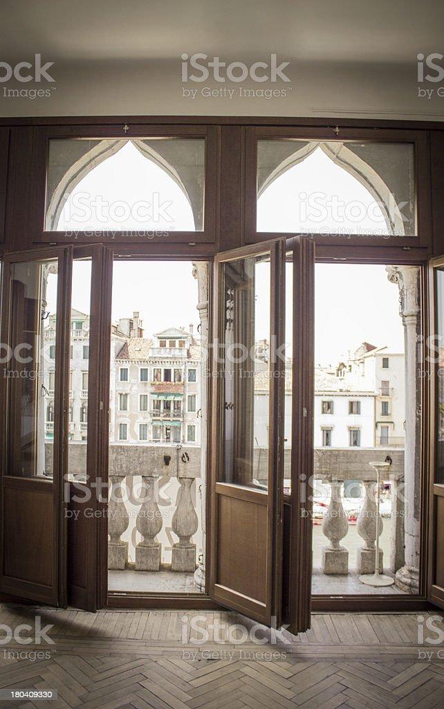 Balcony doors stock photo
