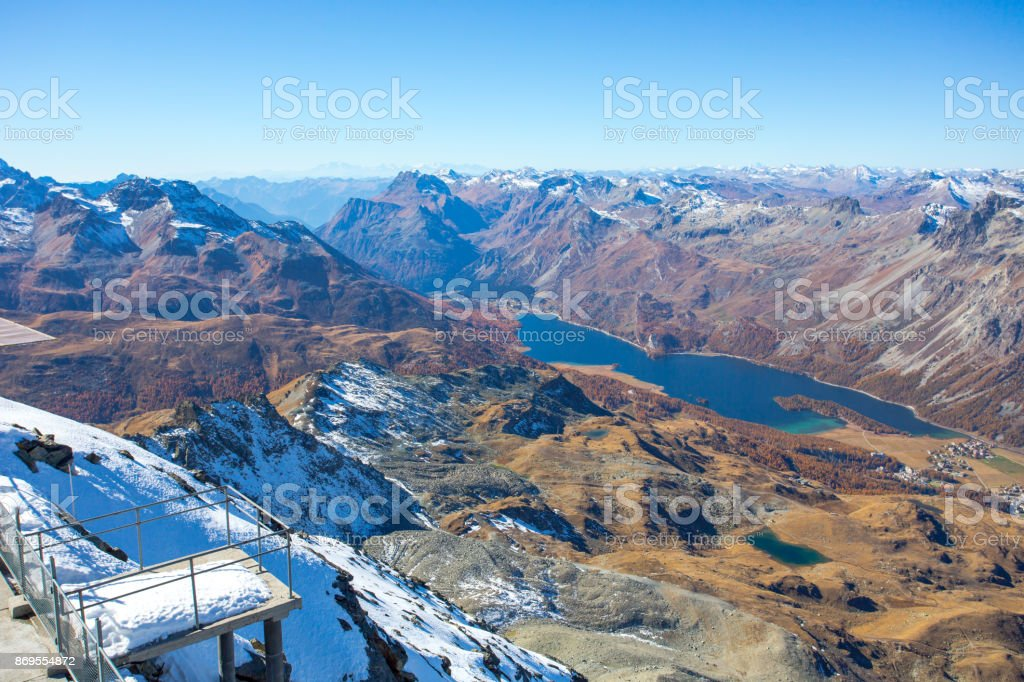 A Balcony Facing Forward The Lake Sils stock photo