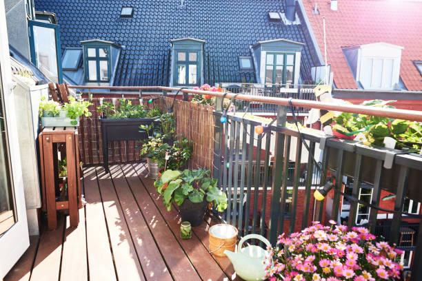 balcony garden stock photo