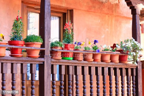 This a typical balcony in the medieval city of Albarrac