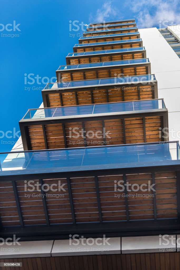 Balcony of a modern residential building stock photo