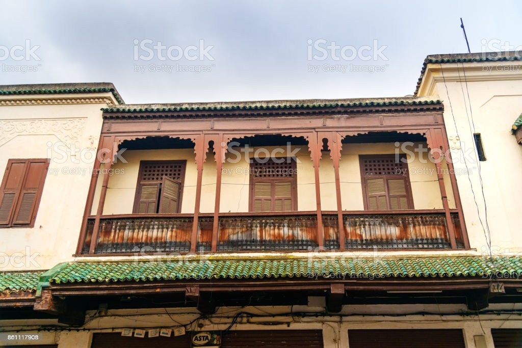 Balcony of building on the street of Mellah, Jewish quarter in Fes. Morocco stock photo