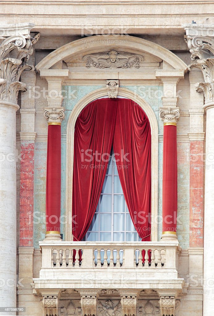 Balcony of the Basilica of St John Lateran in Rome stock photo
