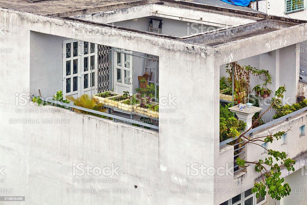 balcony of Vietnamese house stock photo