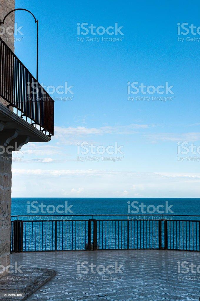 Balcony on the sea the Polignano stock photo