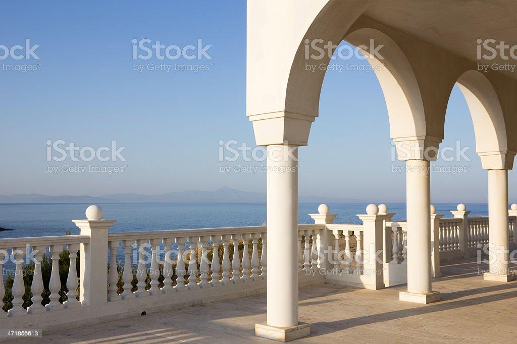 Balcony over Aegean Sea stock photo